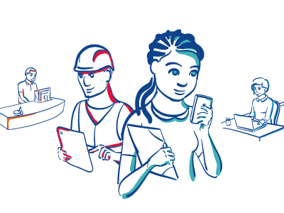 Users handraw illustration drawing digital platform people users