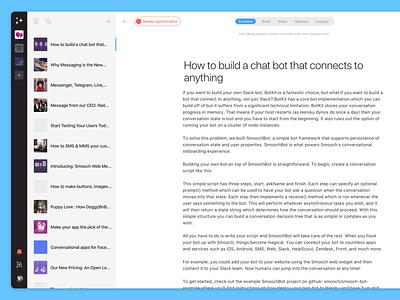 Design exploration for MarketMuse Suite – Content View optimization content web app app product design