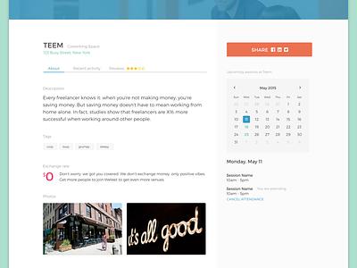 Venue – Weleet venue share button calendar tabs cowork photo background web app product design