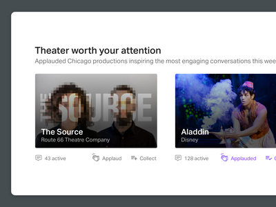Design exploration for Dialogue chicago theatre collect conversations applause theater web app product design