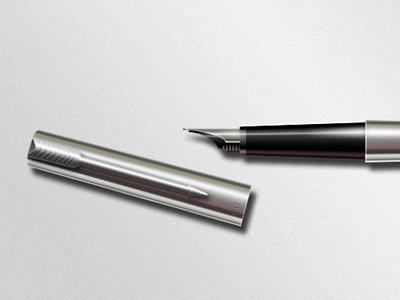 Parker Pen + *.psd parken pen metal icon photoshop psd grd gradient realistic