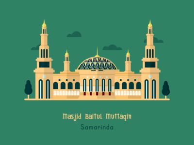 Masjid Baitul Muttaqin - Samarinda islamic design islamic art design flatillustration flatdesign illustration artwork adobexd