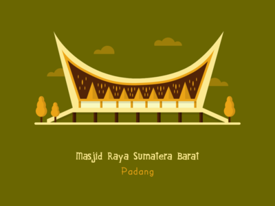 Majid Raya Sumatera Barat islamic art islamic design design flatillustration flatdesign artwork illustration adobexd