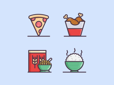 Colorful Food Icon Set icon hello dribble foodpost foodblog webdesign iconography pizza food adobe illustrator icondesign