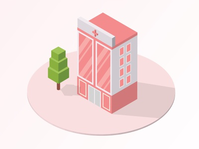 Isometric Hospital Building Vector Illustration pink covid-19 covid19 vector hello dribble illustration isometric illustration isometric