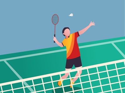 Badminton Illustration illustration design sport sports design flatdesign adobe illustrator illustration badminton