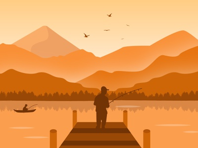 Fishing Illustration adobe illustrator flatdesign illustration monochromatic fishing