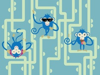 Three cheaters monkeys