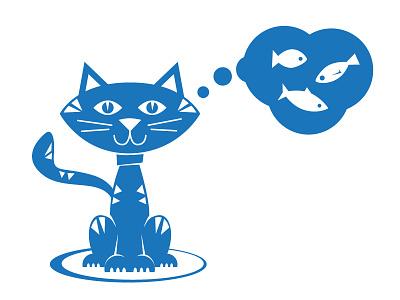 Cat wishes cat wish fish blue thinking