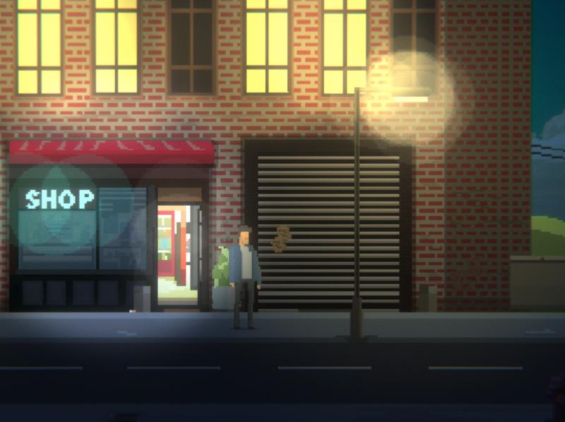 Pixel art night street