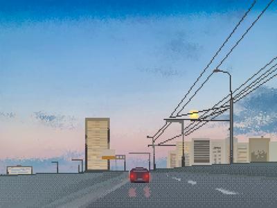 Pixel art sunset on highway