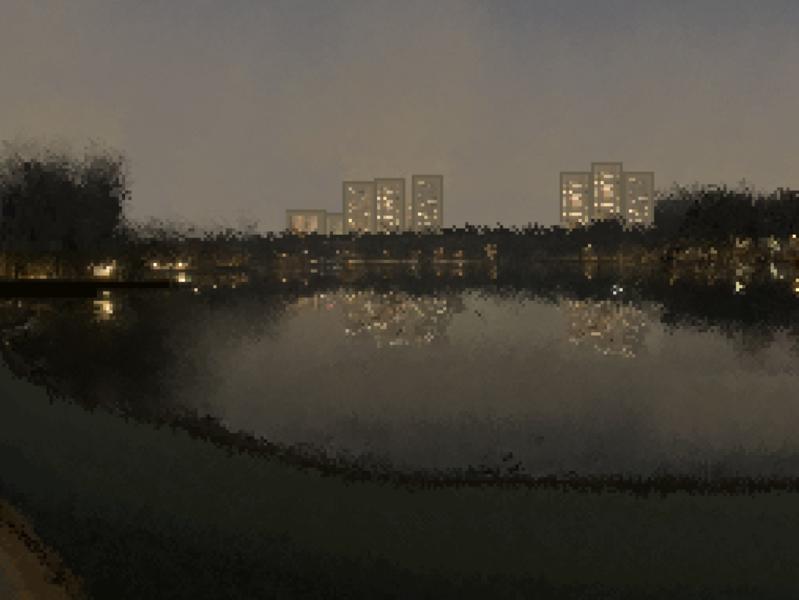 Pixel art evening in the park