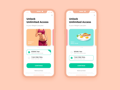 Health & Fitness App Payment Screen app onboarding pricing screen subscription ui subscription pricing ui pricing plan payment payment screen healthcare fitness ux fitness ui ui design figma ux ui fitness app