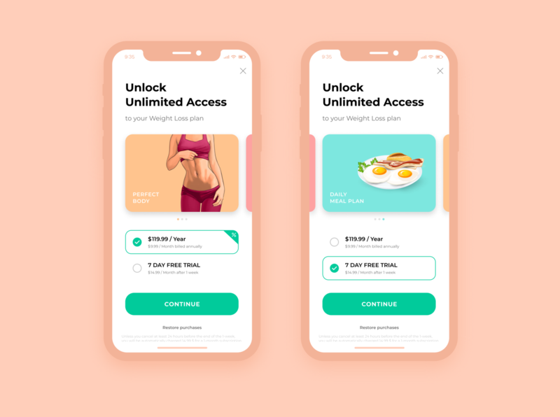 Health & Fitness App Payment Screen