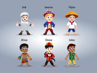 2D vector kids around the world