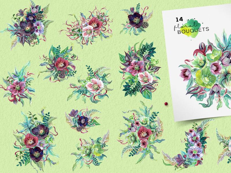 Botanica bouquets spring fresh bouquets watercolour watercolors watercolor illustration flowers floral cliparts clipart botanical