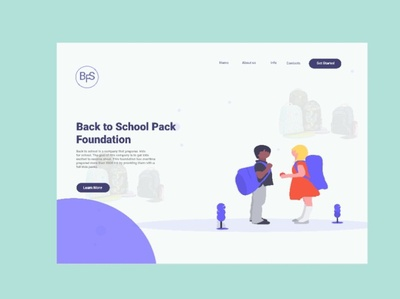 Landing page design for Back To School Pack Foundation.