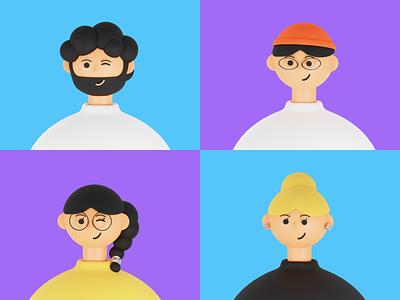 3D portraits портрет иллюстрация simple smile персонаж мужчина женщина student students person woman man portrait people illustration web blender3d 3d