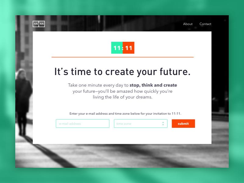 11:11 Landing Page forms web design web splash page landing page