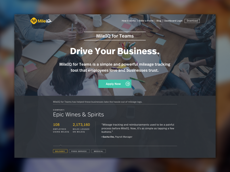 MileIQ for Teams Landing Page quotes carousel form fields landing page