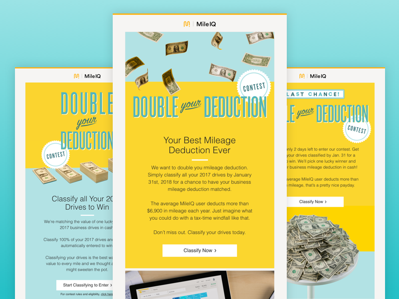 Double Your Deduction Contest app layout money emails contest