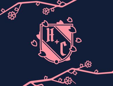 Wedding Crest wedding wedding invite heraldry crest sakura blossom blossom sakura minimal icon typography vector branding design illustration