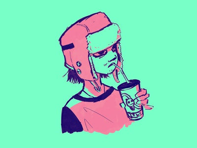 Slurp. doodle character procreate cartoon cartoon character anime drawing illustration
