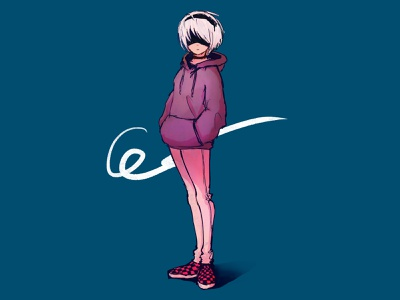 casual YoRHa No.2 Type B yorha 2b sketching sketch casual vans girl nier nier automata doodle procreate drawing anime illustration