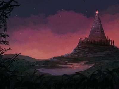 Tower landscape illustration sunset landscape procreate drawing illustration