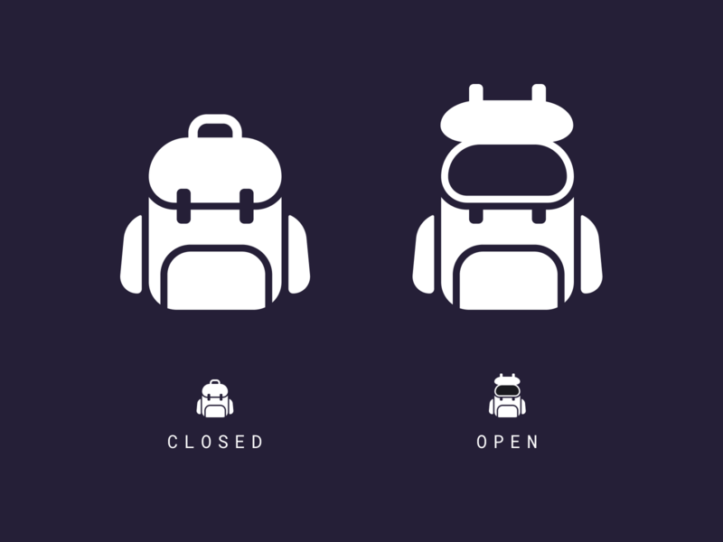 Backpack Icon branding flat vector illustration logodesign logo iconography bag pack inventory ui minimal backpack