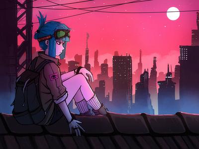 City View cyberpunk aesthetic vaporwave procreate anime drawing illustration