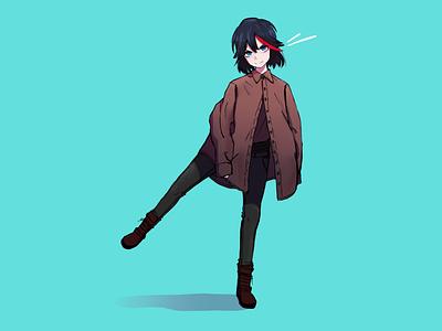 Ryūko Matoi Casual kill la kill drawing procreate anime minimal illustration