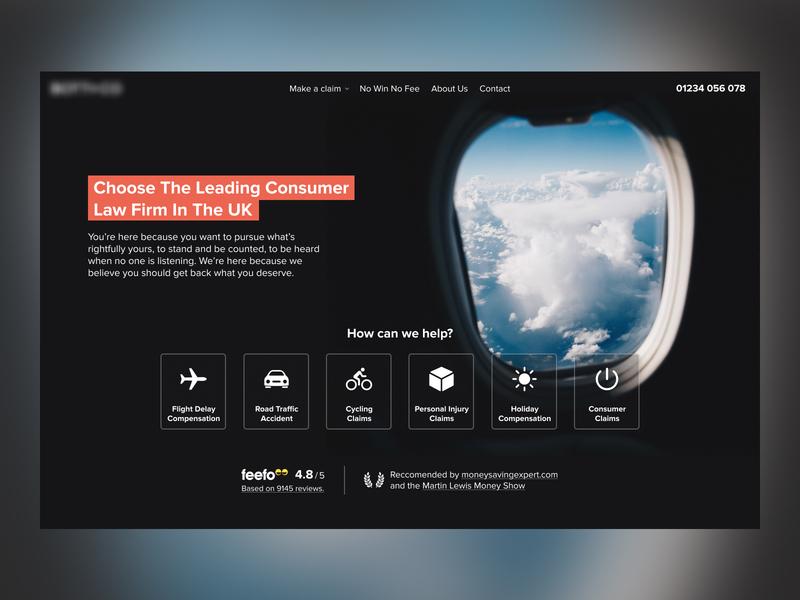 Flight Claims Concept figma billboard homepage website design ui dark ui dark theme law firm insurance airplane flight hero website dark minimal web design
