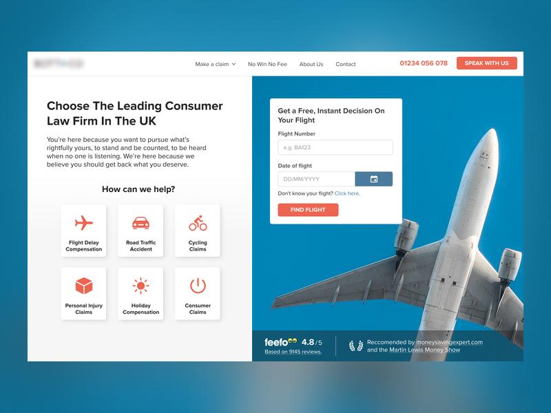 Flight Claims Concept 2 website design insurance homepage hero billboard figma minimal website airplane law firm flight ui web design webdesign