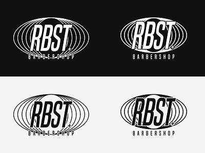 RBST black and white minimal wordmark monogram monotone logo barbershop logo barbershop barbers