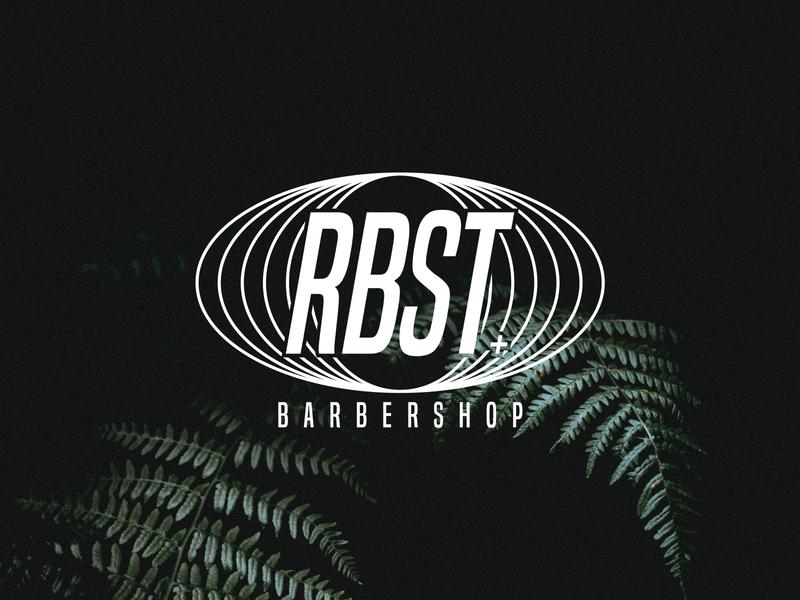 Finalised RBST Logo black and white barbers barbershop logo barbershop monogram wordmark design branding logo minimal