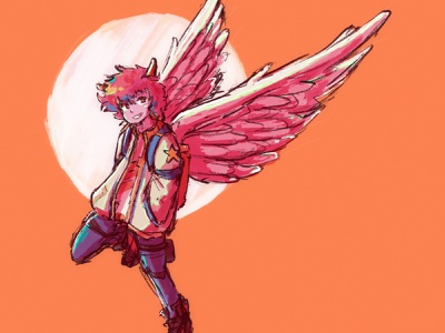 Wings texture ipad pro procreate character character design sketch anime drawing illustration
