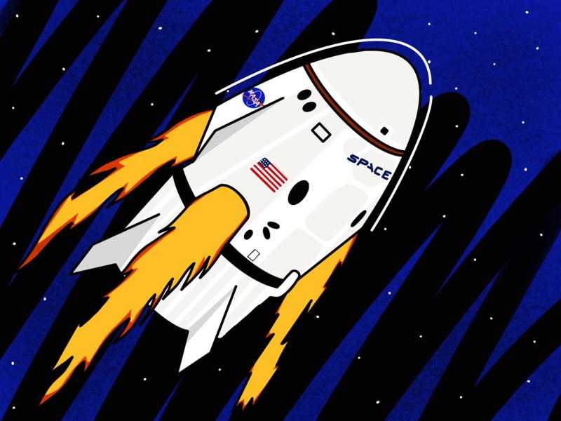 Dragon 2 A Space Odyssey nasa dragon2 spaceship astronaut elon musk spacex space drawing illustration art illustration art design