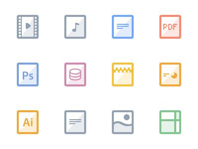 Flat files debut freebie icons files flat video audio doc pdf photoshop database zip powerpoint illustrator text image spreadsheet