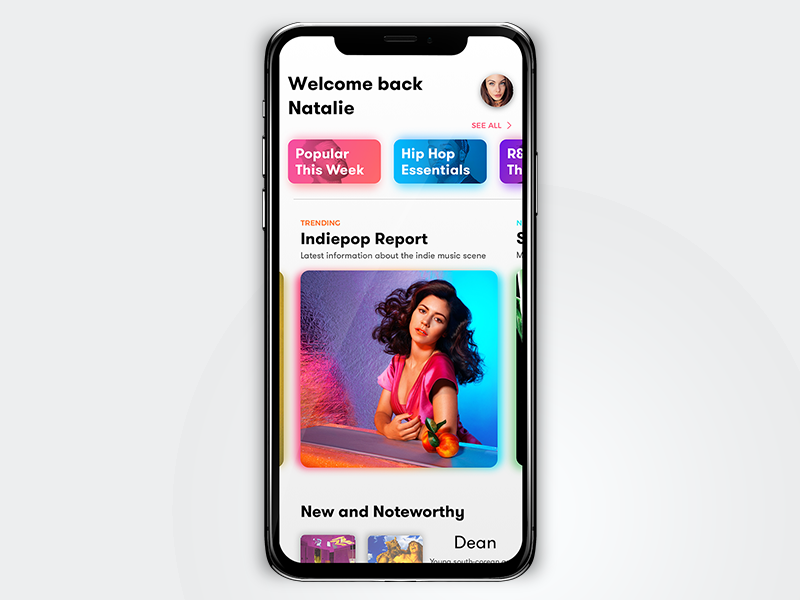 Music Discovery drop shadow prospect gradient iphonex ux ui concept app music sketch