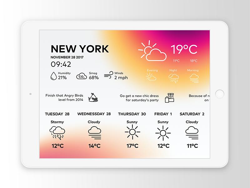 Weather UI iPad icons minimal simple ui blur gradient sketch ipad ui ipad