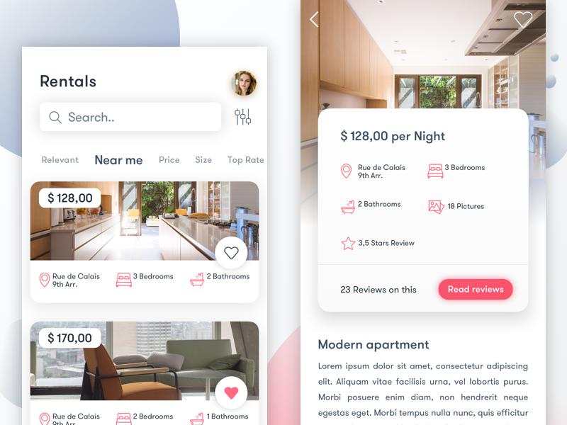 Rentals App uiux sketch airbnb realestate gradient pastel dropshadow cardui card