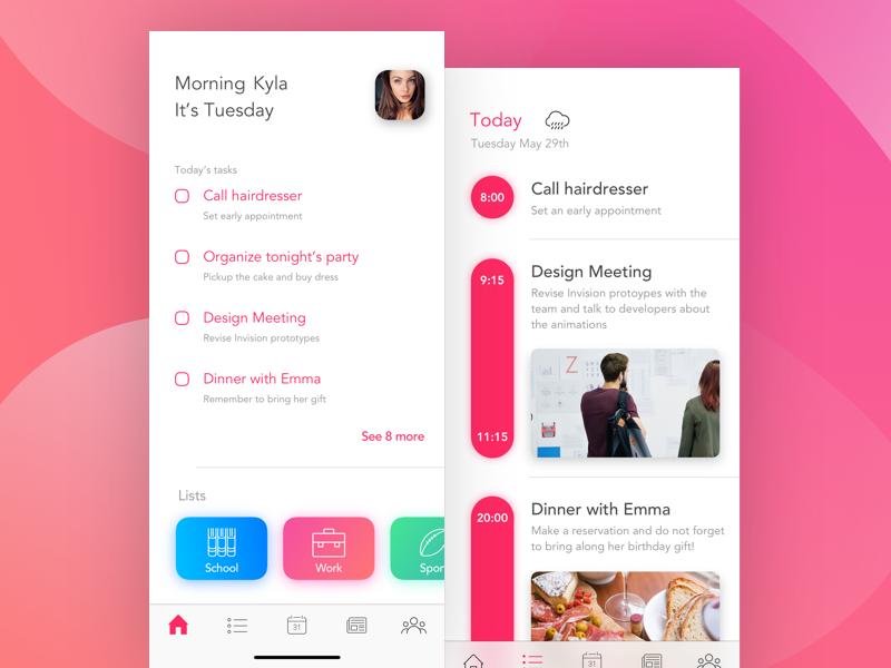 Calendar App ux ui blur minimal sketch todo app iphone x gradient calendar card ui clean design