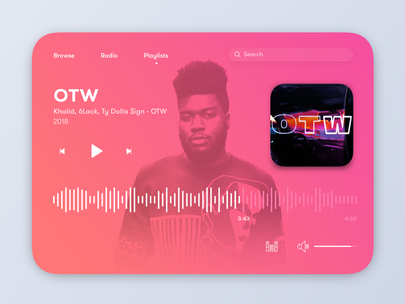 Spotify Widget widget experience design drop shadow sketch music audio gradient card ui uiux music player