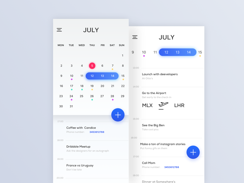 Calendar Minimal blue bright colours material design sketch uiux iphone x drop shadow negative space minimal calendar ui