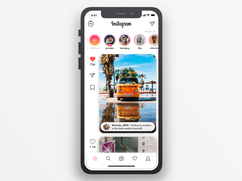 Instagram Redesign tabbar 2019 redesign whitespace card ui iphone x minimalism uiux sketch instagram