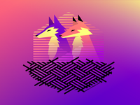 Nested Waf and Woof synthwave nest fox wolf vector design illustration