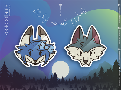ZOOTOCOLLANTS – Waf and Woof in matte colors illustration fox wolf stickers character design goodies merch aurora forest moon gradients vector art adobe illustrator landscape north