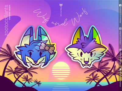 ZOOTOCOLLANTS – Waf and Woof in iridescent colors adobe illustrator vector art gradients sea sun sunset merch goodies character design wolf fox stickers illustration iridescent synthwave holographic retrowave