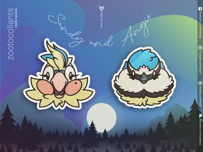 ZOOTOCOLLANTS - Sandy and Angie in matte colors feathered budgie birds vector art stickers north moon merch landscape illustration gradients goodies forest design character design aurora adobe illustrator